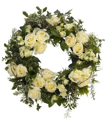 Windsor white rose wreath